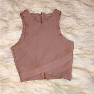 Charlotte Russe Blush Bandage Crop Top